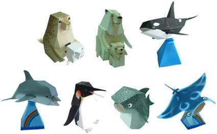 ペーパークラフト「水族館の仲間たち」